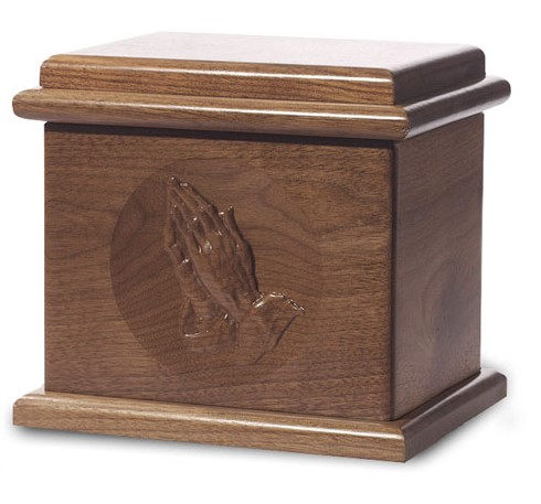 Dark walnut stain - Praying Hands, Wood Urn, burial urn, custom urn ,discount urn